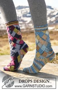 "DROPS socks with Entrelac pattern in ""Fabel"". Foot worked in either Entrelac pattern or in stocking st and rib."