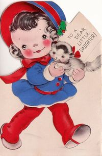 1942 To A Dear Little Daughter Vintage Greetings Card