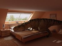 King size bed? Now we need a TRex size bed!