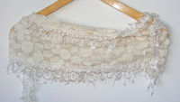 fashion scarves, women new scarf trends, ivory scarf, Cowl Scarf with Lace Edge