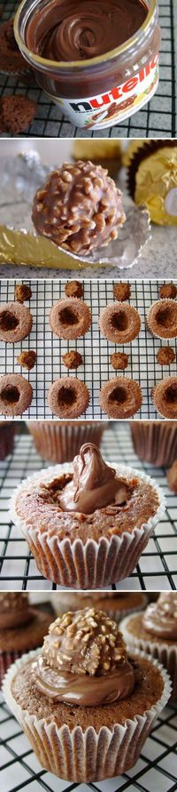 Nutella Filled & Ferrero Rocher Topped Cupcakes!