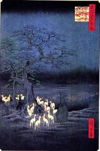 Hiroshige: New Year's Eve, Fox Fires by the Nettle Tree at �Œji, from the series 100 Famous Views of Edo, 1857