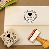 Heart Custom Address Stamp for Save the Dates & Wedding Invitations. $28.00, via Etsy.
