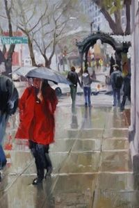 """Rain Shine Seattle cityscape, oil painting by Robin Weiss"" © Robin Weiss"