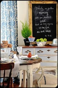 chalkboard in dining room - The Old Painted Cottage