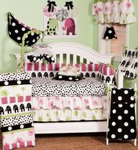 Hottsie Dottsie by Cotton Tale- N Shelby is Graphic, fun, contemporary. Black elephants with hot pink and green accents