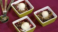 the chew | Recipe | Carla Hall's Blueberry Almond Crisp With Frozen Lemon Yogurt