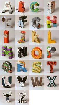 An entire 3D paper alphabet to print and assemble; each of the 26 characters is a person, animal or object whose name starts with that letter.