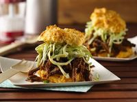 BBQ Beef with Creamy Slaw on Cheese-Garlic Biscuits