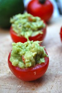 Guacamole stuffed tomatoes.