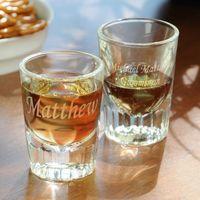 Personalized Fluted Shot Glasses (Set of 2) -- I love these for the groomsmen
