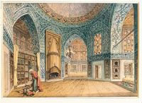 domes in libraries (old) - illustration of the topkapi palace library, istanbul