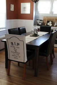 Hammers and High Heels: DIY Halloween Themed Gravestone Dining Room Chair Covers!