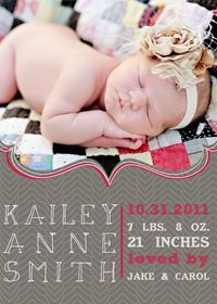 Cute birth announcement, also a nice natural light photo.