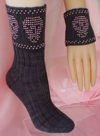 Spooky Beaded Treat Wristlets and Matching Socks. HeartStrings knitting pattern #S18