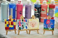 art activity - mini canvas and easel sets play activity - museum, art gallery
