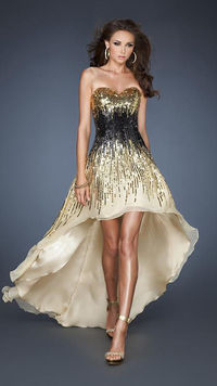 Gold Black Colorblocked Full Sequin High Low Dress for Prom