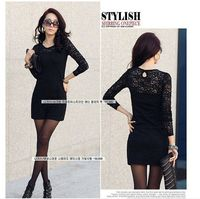 only $7 2013 New Year Fashion Women mint Sexy Cotton Lace Dress club Casual Long Sleeve Dresses for Spring and Autumn Promotion