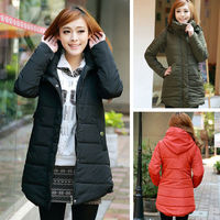 Korean Womens Solid Hooded Hidden Zipper Cotton Padded Strings Pocket Stand Collor Outwear Coat Jacket