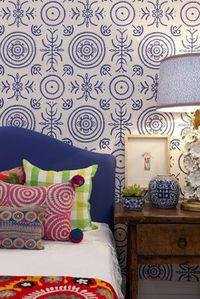 Anna Spiro for Porters Paints Wallpaper in Round and Round the Garden - Ginger Jar Blue