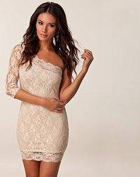 Nude Lace One Sleeve Dress