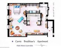 floor plan of Carrie Bradshaw's apartment from Sex and the City