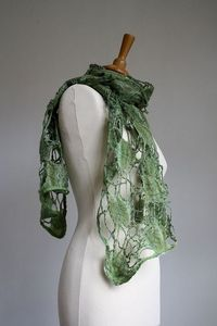 By Monika Lamackova - lovely combo of yarn and fleece to create a cobwebby type of scarf