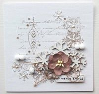 shabby shic, snowflake diecut, handmade paper flower, twine, stickles, perfect pearls