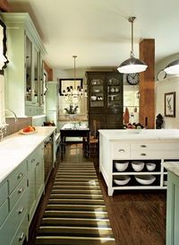 green cabinets, love the whole thing