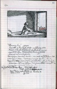 "Edward Hopper, page 43 from Artist's ledger�€""Book III, 1924�€""67. Ink, graphite, and colored pencil on paper, 12 3/16 �— 7 5/8 in. (31 �— 19.4 cm). Whitney Museum of American Art, New York"
