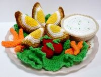 "Food Crochet Pattern Eggs Pattern PDF Scotch Eggs Meal Set. Pattern 4.50 through melbangel at Etsy. These would be so cute for a child's play kitchen and teach them about healthy eating choices too! ¯ (�ƒ"") /¯"