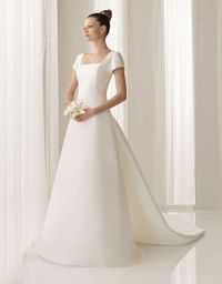 Modern square natural waist satin wedding dress