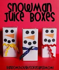 Snowman decorated juice box: Winter classroom party