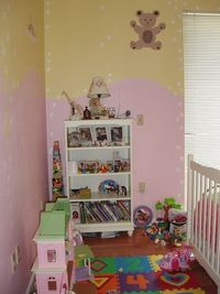 We painted my now, 5 year old daughter's room with a rain of white flowers and stuffed animals. Jessica J