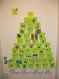 POST IT NOTE (STICKY NOTES) CHRISTMAS TREE - I think it would be great as a classroom activity