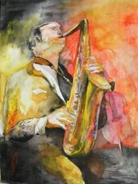 Saxophonist (c) watercolor by Frank Koebsch