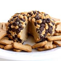 "PeanutButter ""Cheese"" ball! 1 package (8 ounces) cream cheese, at room temperature 1 cup powdered sugar 3/4 cup creamy peanut butter (not all-natural) 3 tablespoons packed brown sugar 3/4 cup milk chocolate chips 3/4 cup peanut but..."