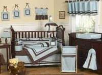 Hotel Blue and Brown Baby Nursery Crib Bedding Set