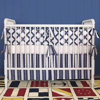 blue and white baby bedding