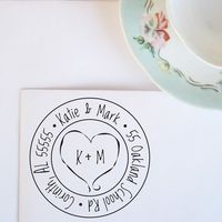 Medium Heart Monogram Address Stamp