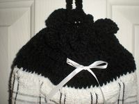 Crochet Plastic Bag Holder - Black and White