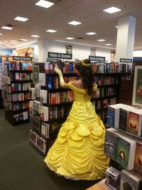 To do list: Go to bookstores dressed as Belle.
