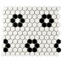 Metro Hex Matte White with Heavy Black Flower 10-1/4 in. x 11-3/4 in. Porcelain Mosaic Floor and Wall Tile-FDXMHMWF at The Home Depot