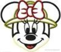 Miss Mouse Safari Hat Face Machine Applique Embroidery Design, Multiple Sizes- including 4 INCH