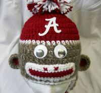 Alabama Crochet Sock Monkey Hat for children ages 410 by CDBSTUDIO, $28.00