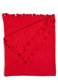 waffle red cotton pom pom covers