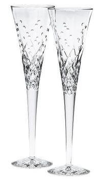 Waterford Happy Celebrations Crystal Flute Glasses, Set of 2 $135