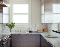 marble countertops and marble backsplash are the same piece.