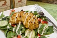 Honey Mustard Spinach Salad with Chicken Quinoa Cakes