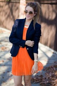 Neon orange and navy are a match in fashion heaven.
